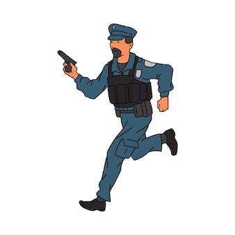 경찰 또는 경비원 남자 만화 캐릭터 무기 실행, 흰색 배경에 고립 된 스케치. 범죄자를 쫓는 경찰관.
