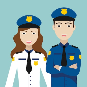 Policeman and policewoman, city police department.