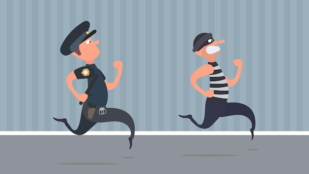 A policeman runs after a thief. the criminal escapes from the policeman. cartoon style.