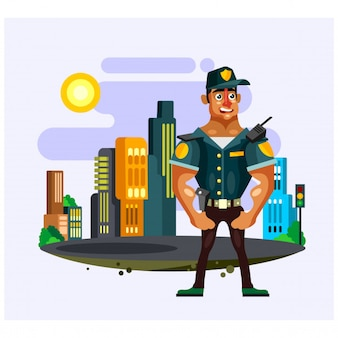 Policeman security guard standing in the city cartoon character