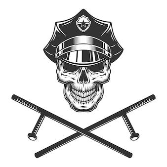 교차 경찰 batons와 경찰관 두개골