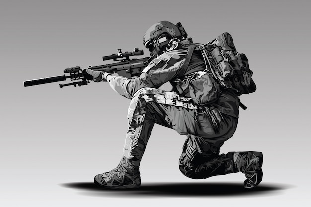 Policeman tactical shoot illustration. armed police military preparing to shoot with automatic sniper rifle.