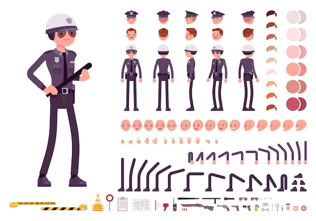 Policeman in uniform character creation set