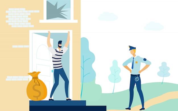 Policeman in uniform looking at robber or burglar,