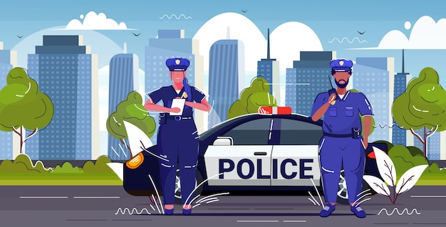 Policeman using walkie-talkie policewoman writing fine report mix race police officers standing near patrol car road traffic safety regulations concept cityscape