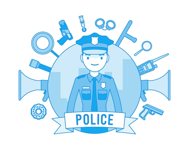 Policeman and weapons poster