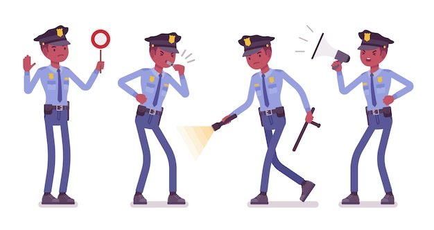 Policeman with signals and light