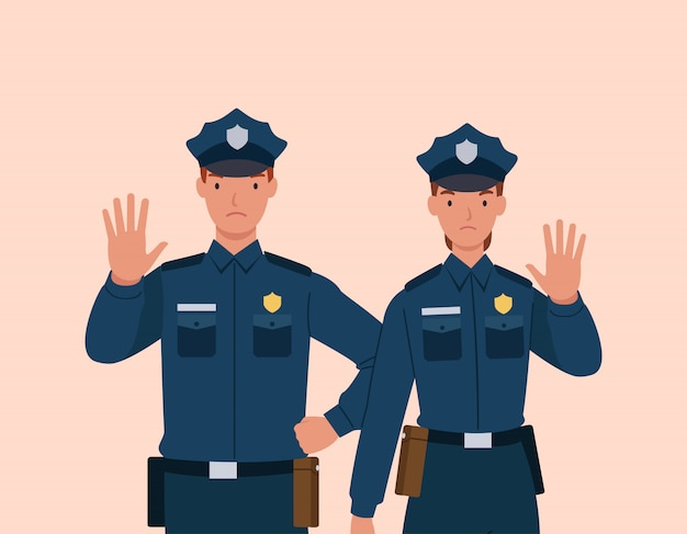 Policeman and woman showing gesture stop.