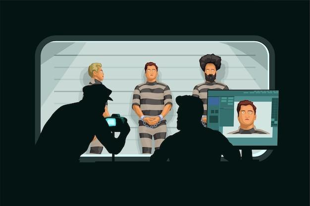 Policemen identification arrested people in secret room
