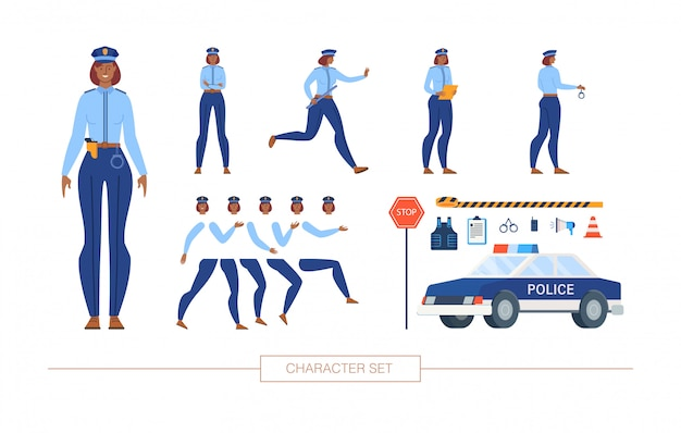 Policewoman character constructor flat  set