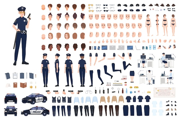 Policewoman constructor or diy kit. collection of female police officer body parts, facial expressions, hairstyles, uniform, clothing and accessories isolated on white background. illustration.