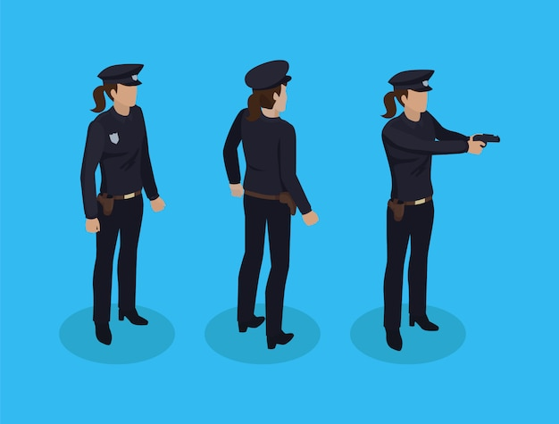 Policewoman cop set vector