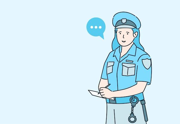 Женщина-полицейский, выдающая штрафную иллюстрацию. охранник допрашивает свидетелей или выдает парковочный талон.