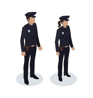 Policewoman and policeman illustration
