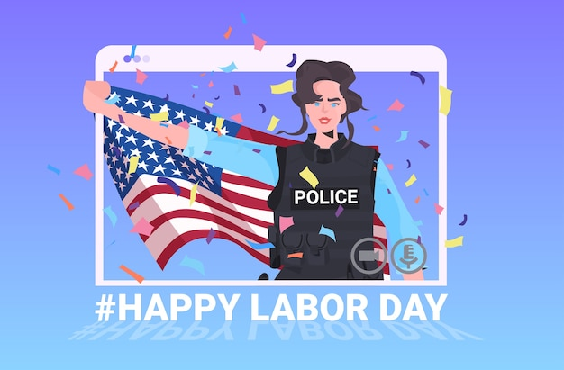 Policewoman in uniform holding usa flag happy labor day celebration