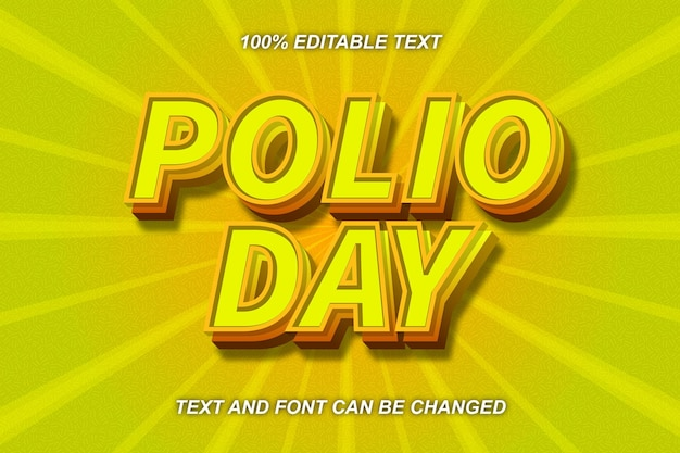 Polio day editable text effect comic style