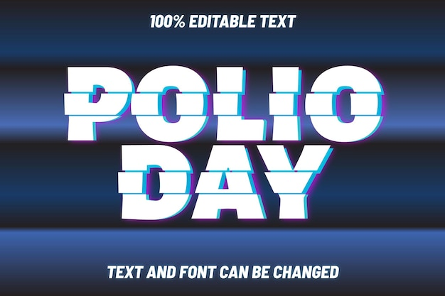 Polio day editable text effect modern style