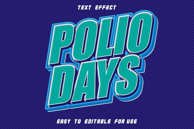 Polio days editable text effect emboss modern style