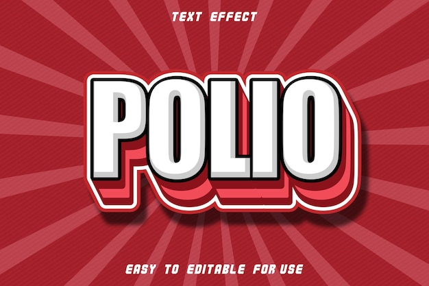 Polio editable text effect emboss modern style
