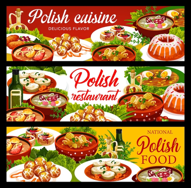 Polish cuisine food banners with lunch and dinner dishes, vector traditional menu of poland. polish national cuisine white borscht and pork schnitzel, christmas carp and zurek soup with warsaw donuts