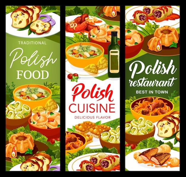 폴란드 요리 식사 배너입니다. 토마토 소스의 양배추 롤, 소시지, 고기 빵, 비고스, 칼두니, 파라무쉬카 수프, 잉어, 헤이즐넛 마주르카, 메추리알을 곁들인 미트로프, 감자를 곁들인 만두