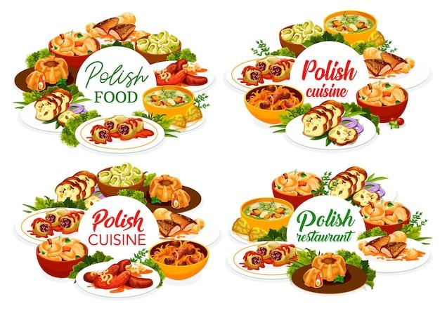 폴란드 요리 레스토랑 메뉴 표지 템플릿입니다. 비고스, 파라무쉬카 수프와 소시지, 미트로프 링, 칼두니와 양배추 롤, 소스를 곁들인 잉어, 감자와 헤이즐넛 마주르카를 곁들인 만두, 고기 빵 프리미엄 벡터