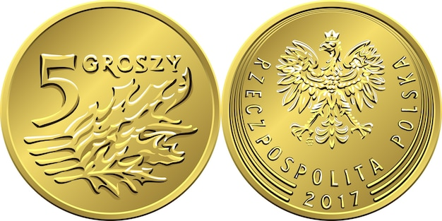 Polish money five groszy copper coin reverse with value and 5 leaves obverse with eagle in golden crown