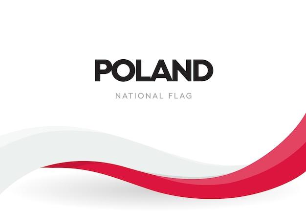 Польский развевающийся флаг. красно-белая лента