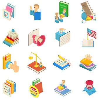 Political book icon set
