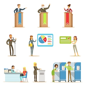 Political candidates and voting process series of democratic elections themed illustrations