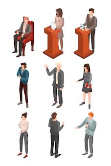 정치 회의 아이콘 세트입니다. 웹 디자인을위한 정치 회의 벡터 아이콘의 아이소 메트릭 세트 흰색 배경에 고립 프리미엄 벡터