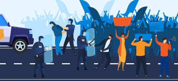 정치 위기, 시위 및 경찰은 항의하는 사람들의 일러스트레이션에 저항합니다.