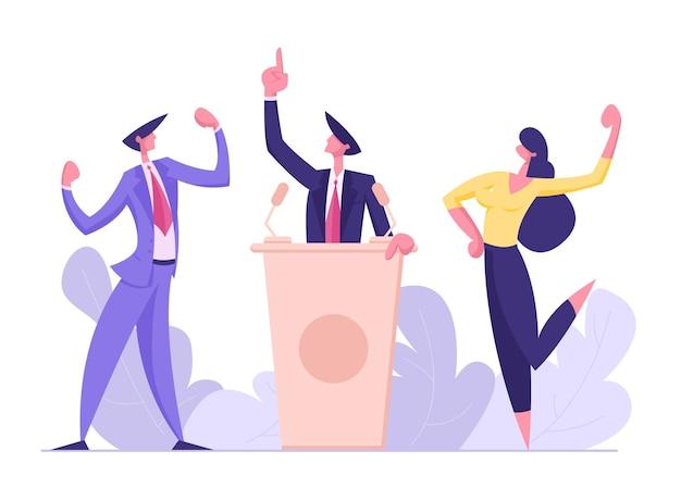 정치 토론, 선거 전 캠페인 투표 프로세스 일러스트레이션