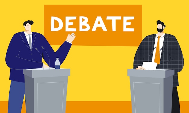Political debates vector illustration with two male politicians standing behind the tribune