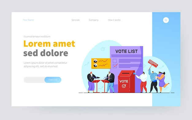 Political debates and voting, balloting citizens. flat vector illustration. holding election or referendum campaign, making civic choice or opinion. voting, constitution, politics, democracy concept