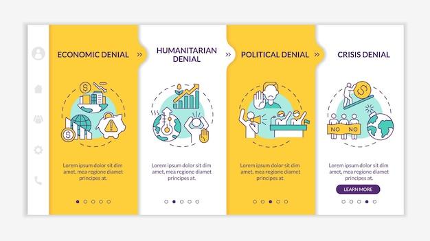Шаблон вектора политического отрицания адаптации. адаптивный мобильный сайт с иконками. веб-страница прохождение 4-х шаговых экранов. концепция цвета отрицателей изменения климата с линейными иллюстрациями