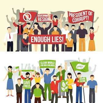 Political and ecological demonstrations horizontal backgrounds