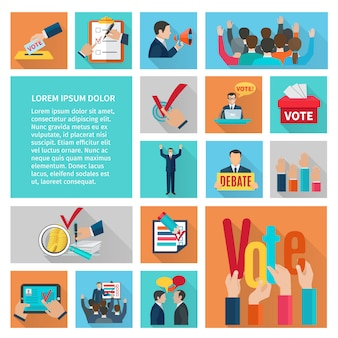 Political elections and voting flat decorative icons set