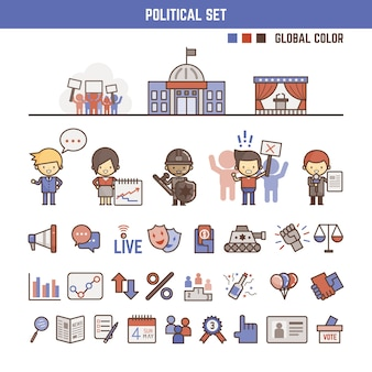 Political infographic elements for kids