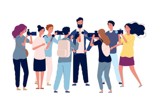 政治面接。ビジネスマンは、群衆のジャーナリスト、写真家、人気のある人と話します。広報マネージャーまたは政治家のベクトルイラスト。ジャーナリストインタビュービジネスマン