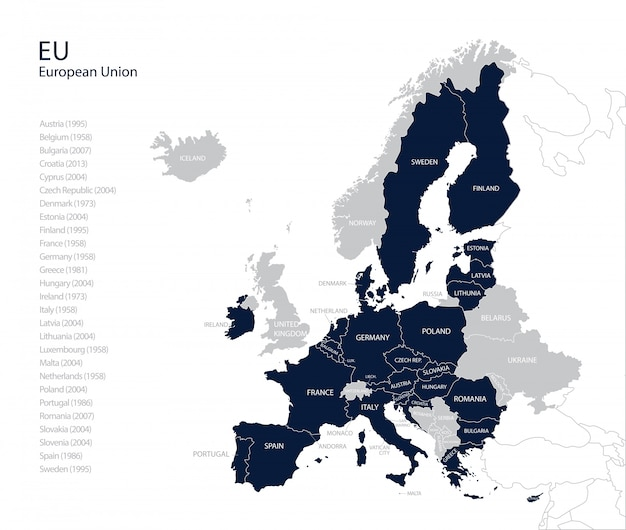 Political map of eu (european union) without united kingdom.