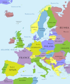 Политическая карта европы. Premium векторы