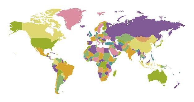 政治地図。色付きのグラフィックマップの地理的テンプレート上の世界の国々。