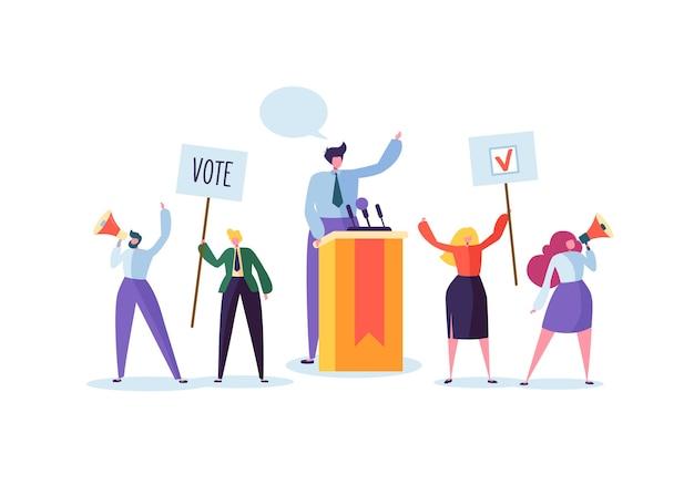 Политическая встреча с кандидатом с речью. избирательная кампания голосования с персонажами, держащими знамена и знаки для голосования. избиратели мужчины и женщины с мегафоном.
