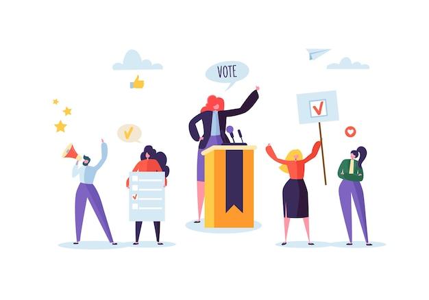 Политическая встреча с женщиной-кандидатом в речи. избирательная кампания голосования с персонажами, держащими знамена и знаки для голосования. избиратели мужчины и женщины с мегафоном.