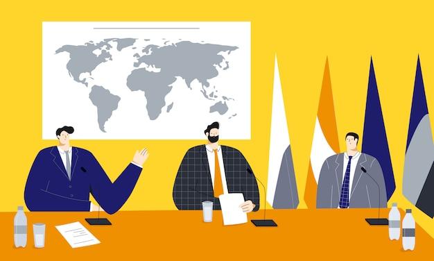 Векторная иллюстрация политического саммита с мужчинами-политиками, сидящими возле карты мира и флагов