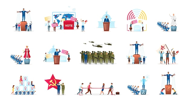 Political system metaphor flat set. different forms of governments. head of state. radical ideologies. election process. monarchy and republic. politicians cartoon characters