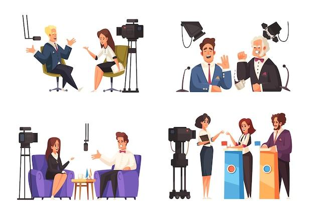 Политическое ток-шоу 2x2 композиции, включая интервью с журналистами и открытые дебаты перед голосованием, изолированные Premium векторы