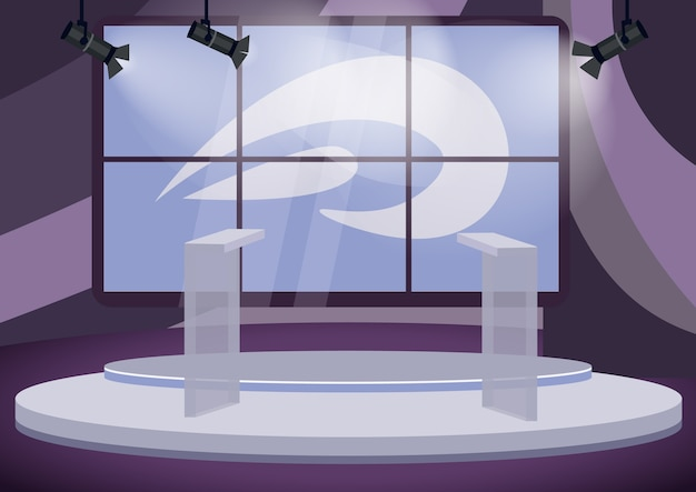 Political talk show studio  color  illustration. empty stage  cartoon interior with screens on background. professional television program production. tribunes on podium in spotlights