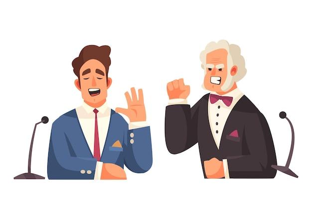 2人の主張する男性政治家のイラストの落書きキャラクターとの政治トークショー